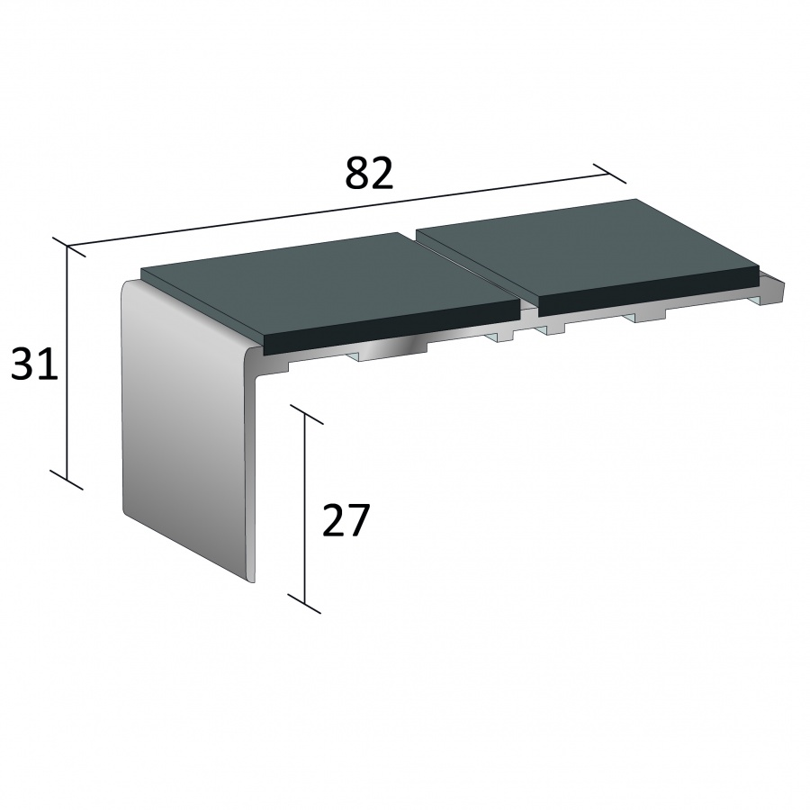 Right Angle Channel : Stairnosing standard double channel right angle sf