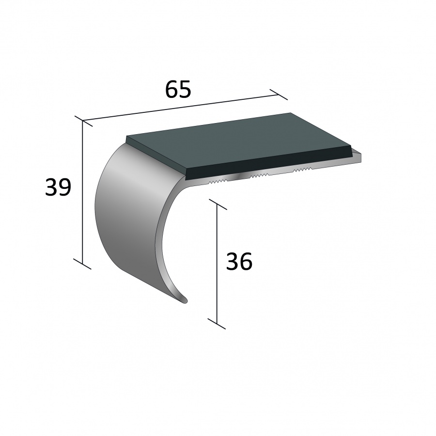 Stairnosing Standard Single Channel Bull Nose Large Sf136
